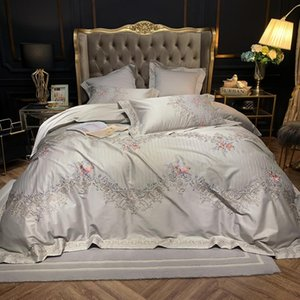 Papa&Mima 600TC Egyptian Cotton European Style Embroidery Duvet Cover Set Pillow Cases Flat Fitted Sheet Duvet Cover