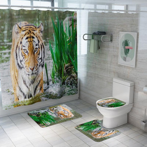 Bathroom Shower Curtain Set Animals Tiger Lion Horse Pattern Waterproof Anti Slip Pedestal Rug Toilet Cover Bath Mat Set DW070