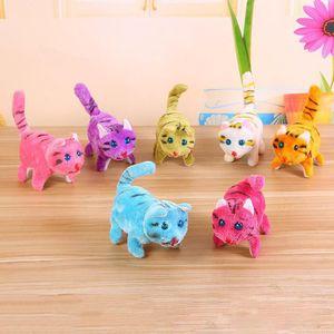 4 models Electronic Walking cat panda Kids Children Interactive Electronic Pets Doll Plush toys Neck Bell Barking cats Toy Christmas