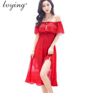 Brand New Style Sexy Lace Women Pyjamas Night Dress Silk Nightgown Female Lingerie Sleepwear Long Skirt Girls Nightwear Nightie