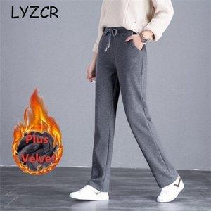LYZCR Wide Leg Winter Warm Fleece Pants Women Plus Size Thick Women's Winter Pants Velvet Straight Loose Ladies Pants Autumn 201228