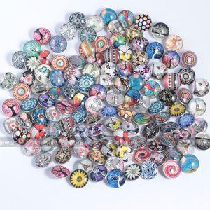 18mm Snap Schmuck Charms Glas Snap Buttons Schmuck Gemischte Stil Glas Snaps Charme Button für Snaps Armband Armreifen