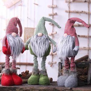 Plush Doll Santa Gnome Ornaments Handmade Elf Toy Buffalo Plaid Christmas Dolls Figurines Merry Swedish