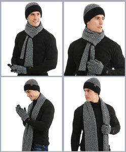 2020 Luvas de Inverno de malha Chapéus Cachecol Set Two Gorros Side Scarf Luva Três Peças Define quente grossa Crânio Caps Patchwork Lenços LY11101