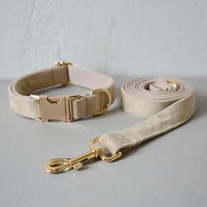 Free engrave fabric dog collar leash set for medium big dog pet necklace with bow tie Khaki velvet pet rope Christmas decoration