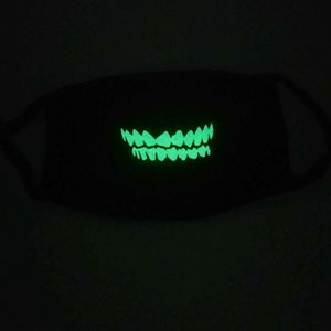Mascarilla luminosa Mascarilla Esqueleto Polvo Moda Personalidad Dientes Resplandor Reutilizable Algodón Mascarilla Dark Dark In Night Halloween Cosplay Black HWC1826