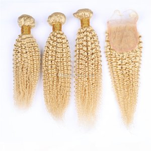 """613 paquetes de cabello virgen con cierre de 4 """"* 4"""" rubio rizado rizado peluquero peruano cabello virgen rubio con cierre"""