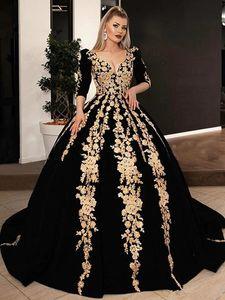 Black Velvet Formal Evening Dresses Plus Size 2021 V-neck Half Sleeve Sparkly Gold Lace Applique Kaftan Caftan Arabic Prom Gowns