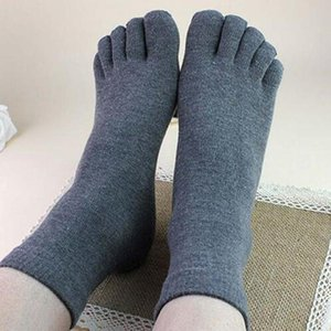 Hot Selling One Pair Male Mens Socks Five Fingers Socks Separated Toes Cotton Solid Comfortable Soft Casual Ankle