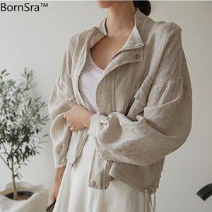 Bornsra New Summer Fall Women's Jacket Stand Collar Casual Loose Pockets Cargo Cotton and Linen Zipper Short Tops Female 201013