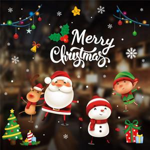 Ventana Decoración de la Navidad etiquetas engomadas de la pared de la sala de Santa Claus muñeco de nieve Elk Decoración de Navidad 2021 Regalo Kerst