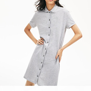 womens dress polo crocodile Cotton Shirt Dresses Casual Polo Clothing A-Line Skirt Fresh Sweet Apparel brand women dressses