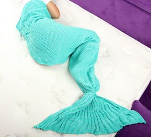 Super Soft Knitted Mermaid Tail Blanket Adults Handmade Crochet Yarn Dyed Wrap Sofa Sleeping Bag Solid Green 180 x 80cm