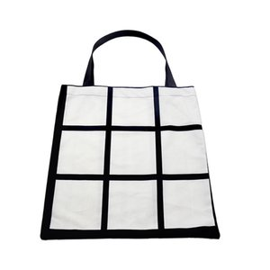 Sublimation White Blank DIY 9 Grid Peach Skin Velvet Tote Bag Single Sides Heat Transfer Shopping Bags sea shipping LLA122