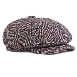 New Tweed Newsboy Cap for Men Autumn Winter Hat Golf Driving Flat Cabbier Flat Berets Peaky Blinders Bone Hat Unisex