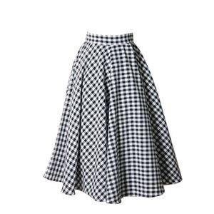 Branco manta de Personalizar fez as mulheres Casual Plus Size 3XS-10xl cintura alta retro saia senhora preto e cópia do vintage uma linha Saias
