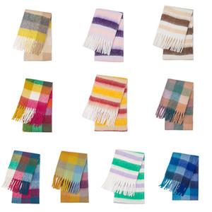 Baby Girls Women Rainbow striped scarf Autumn Winter Plaid cloak Kids lattice shawl poncho Children Warm tassel scarf 10 colors Z1832