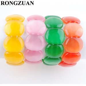 RONGZUAN Multiple Colors Natural Opal Gem Stone Beads Strand Bracelet Stretchy Bangle Women Jewelry 7 Inches TBK332