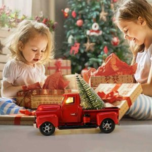 Christmas Vintage Metal Classic Rustic Pickup Truck Red Christmas Home Office Decor For Children gifts
