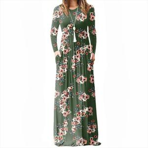 Femme Summer Floral Printed A line Dress Women Long Sleeve Maxi Long Dresses Female Boho Beach Sundress Pockets Plus Size GV083