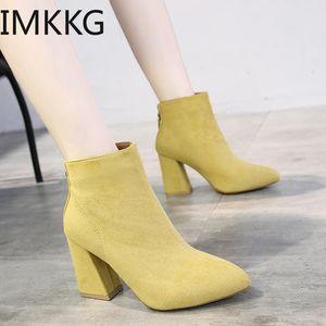 2020 Bottines couleur jaune Bottines Femme Chaussures Zipper High High Heel Boots Sexy Femmes Chaussures Femme Jodhpur