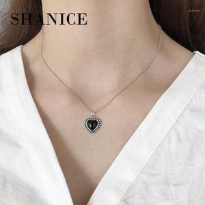Shanice S925 Sterling prata para sempre amor preto coração pingente colar para mulheres mulher jóias amante jóias presente cordão1