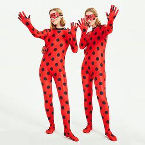 Red Lady Bug Cosplay Anime Costume Halloween Girl Jumpsuit Adult Teens Beetle Suit Marinette Cosplay Costume Tight Jumpsuit Kids