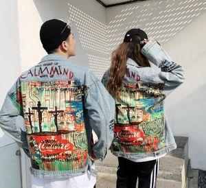 New loose second generation little devil spray paint couple denim jacket fz2810