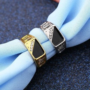 Silver Gold Color Mens Ring Hiphop Oil Dripped Black Ring for Man Fashion Hollow Design Men Bague Anillo Gold Color Jewelry