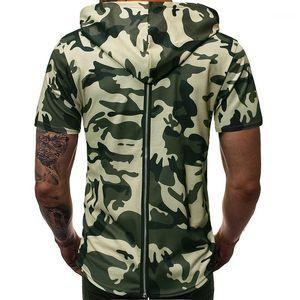 Designer Tops Teenager Fashion SportsTees Mens Camouflage Hooded Zipper Tshirt Panelled Short Sleeve Mens