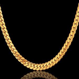 N7M7 Heißer Verkauf Edelstahl Gold Antike flache Schlangenkette Halskette Männer Schmuck 4 / 7mm Choker Lange Ketten für Frauen XL570ST