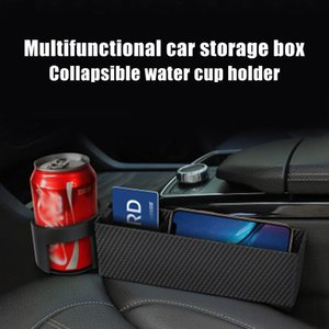 New Carbon Fiber Auto Car Seat Crevice Catcher Side Storage Box Multifunctional Organizer with Cup Holder