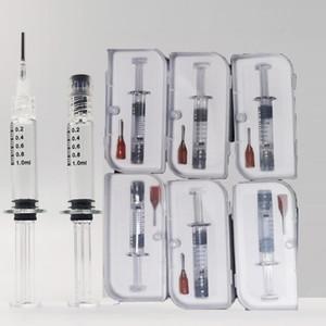 1ML LUER LUER BIRS Jeringas de vidrio Cajas minoristas Inyector Vape Pen Aceite Llenado Herramientas Cartuchos de aceite con marca de medición Embalaje vacío DHL gratis