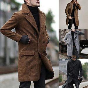 Мужчины Мода Толстой Теплой смеси пальто шерстяного пальто осень зима Сыпучая ветровка куртка мальчик серый Крупногабаритных пальто высокого Quanlity