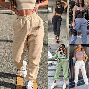 2020 Vêtements Tendance Pantalons Stacked Jogger avec Slit cordonnet Leggings Stacked Sweatpants femmes Y200418 # 135