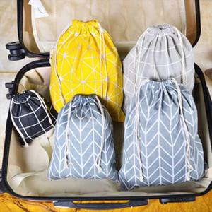 Fashion Canvas Drawstring Cosmetic Bag Travel Make Up Case Plaid Organizer Storage Makeup Pouch Toiletry Beauty Wash Kit Box