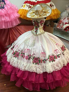 Vintage Sweetheart Neck 3D Flowers and Equestrian Embroidery Tiered Skirt Mexican Charro Hot Pink Quinceanera Ball Gown Vestido De Anos