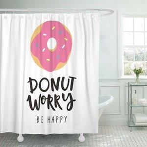 Pembe Alıntı Don Endişe Kancalar X1018 ile Set Su geçirmez 72 x 72 inç Perde Mutlu Sevimli Donut kahvaltı Duş Be