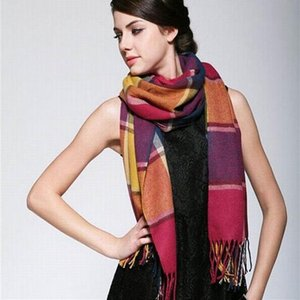 Wool Winter Warm Women Scarf Plaid Thick Blanket Shawls and Wraps Scarves for Women High Quality