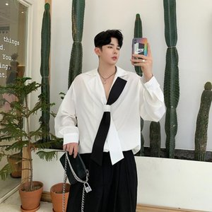 Korean style collar long-sleeved shirt male personality design loose stylist Men White shirts trends 2020 blouses Stage Clothing