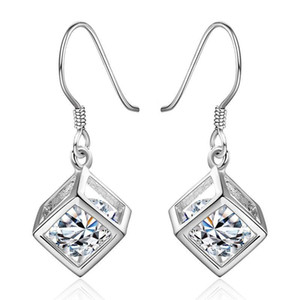 Wedding Gift Silver Color Earrings For Women Lady Square Elegant Hining Zircon Crystal Earrings Jewelry Free Shipping E583 H sqcaud