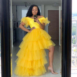 Yellow Women Homecoming Dresses Girls Sweet 16 Gown Tutu Skirts Tiered Tulle African Cocktail Party Dress High Low Prom Gown Cheap L115