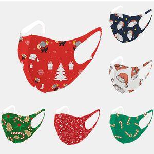 Christmas Ice Silk Face Mask Adults Kids Santa Deer Tree Festival Cover Washable Reusable Dustproof Mask For Boys Girls Men Women HH9-3350