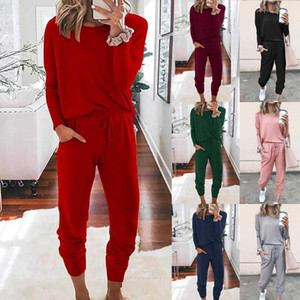 Women sportswear suit Fashion O-neck Solid Pullover Long Sleeve Bandage Loose Pants Sweatsuits Womens two piece sets tracksuit