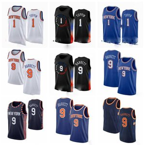 1 OBI Toppin Newyork 9 RJ Barrett 30 Randle Mitchell 2020-21 Black City Basketball Jersey S-3XL