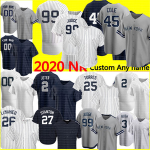 Novo 99 Aaron Juiz Jersey Derek Jeters Jeter 45 Gerrit Cole Jersey Custom Baseball Jerseys Babe Ruth Mantle Rivera Gleyber Torres Jersey 2020