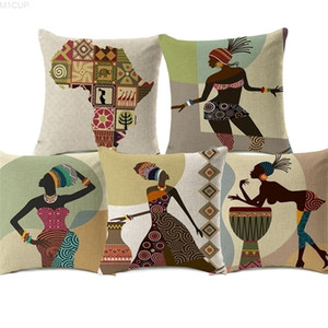18 Styles Modern Fashion African Woman Dance Covers Folk Exotic Africa Life Painting Map Art Cushion Cover Sofa Linen Pillow Case