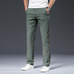 2020 Male Trousers Summer New Nylon Solid Color Straight Mid Loose Full Length Smart Casual Pants Work Pants