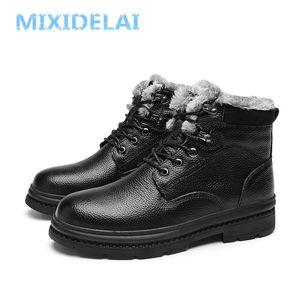 Mixidelai Yüksek Kalite Hakiki Deri Kış Su Geçirmez Ayak Bileği erkek Açık Çalışma Kar Botları Erkek Ayakkabı 201203