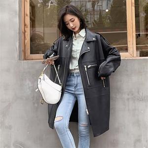 Nerazzurri Oversized primavera preto mulheres jaqueta longa queda ombro manga zipper tamanho Além disso solta couro falso casaco Y1104